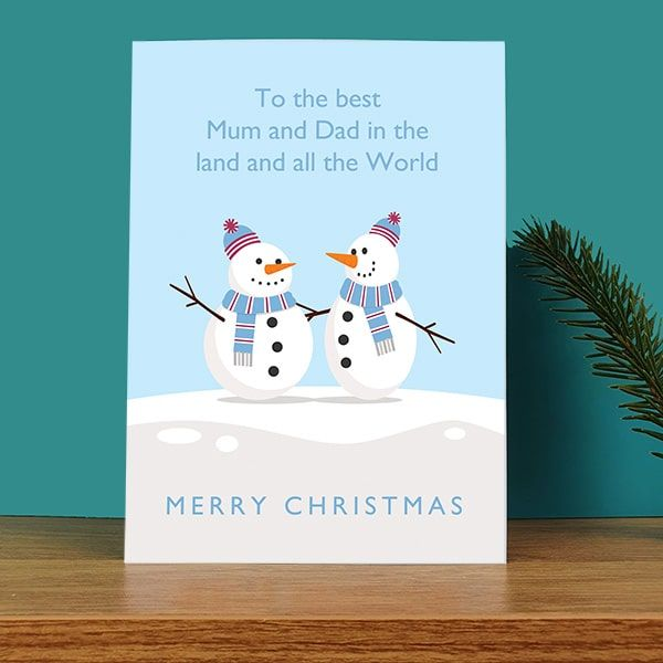 Best Mum & Dad Snowman Christmas Card