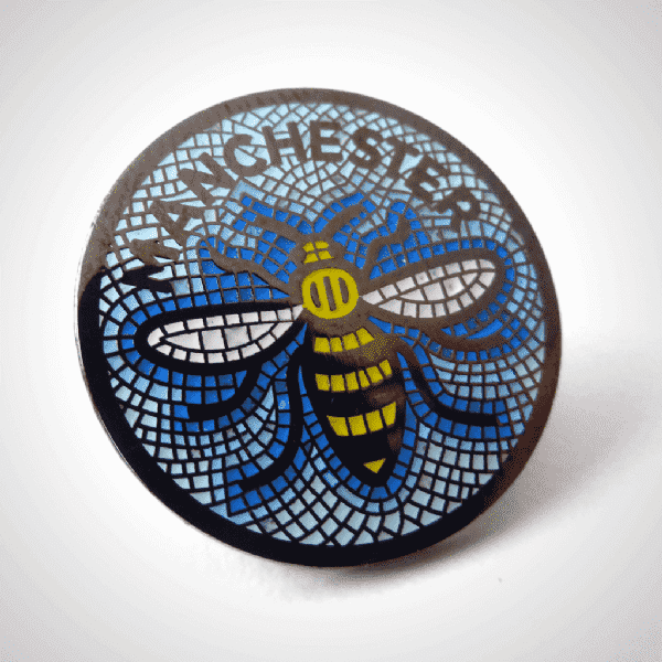 Manchester Worker Bee Mosaic Round Pin Badge