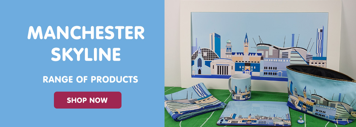 Manchester Skyline picture, tea towel, wash bag, table mat and mug